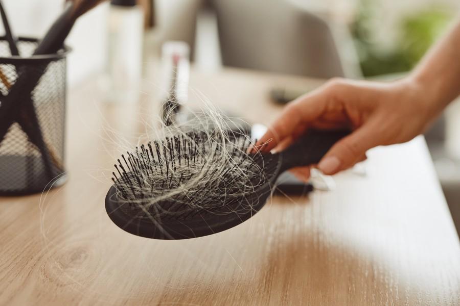 close up of brush with hair JWAGY99